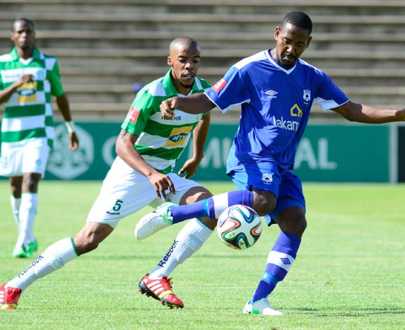 Method Mwanjale of MP Black Aces and Wandisile Letlabika of Bloemfontein Celtic during the Absa Premiership match between Bloemfontein Celtic and MP Black Aces on 2 March 2014 at   Kaizer Sebothelo Stadium