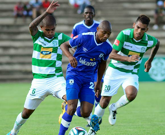 Thabo Qalinge of MP Black Aces and Keagan Buchanan and Clayton Daniels of Bloemfontein Celtic during the Absa Premiership match between Bloemfontein Celtic and MP Black Aces on 2 March 2014 at   Kaizer Sebothelo Stadium