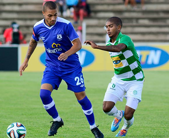 Miguel Timm of MP Black Aces and Keagan Buchanan of Bloemfontein Celtic during the Absa Premiership match between Bloemfontein Celtic and MP Black Aces on 2 March 2014 at Kaizer Sebothelo Stadium