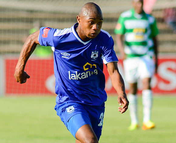 Thabo Qalinge of MP Black Aces during the Absa Premiership match between Bloemfontein Celtic and MP Black Aces on 2 March 2014 at Kaizer Sebothelo Stadium