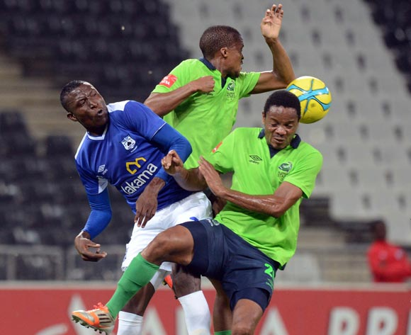 Tshepo Gumede of Platinum Stars (M) and Thabiso Semenya of Platinum Stars ® battle with Tendai Ndoro of Black Aces during the Absa Premiership match between MP Black Aces and Platinum Stars  on the 07 March 2014 at Mbombela Stadium