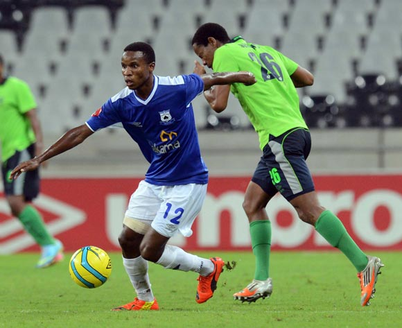 Themba Zwane of Black Aces battles with Thabiso Semenya of Platinum Stars  during the Absa Premiership match between MP Black Aces and Platinum Stars  on the 07 March 2014 at Mbombela Stadium