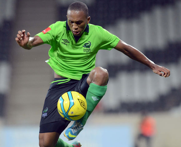 Luvolwethu Mpeta of Platinum Stars  during the Absa Premiership match between MP Black Aces and Platinum Stars  on the 07 March 2014 at Mbombela Stadium
