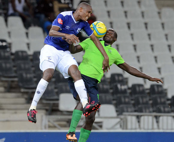 Ofentse Nato of Black Aces battles with Siphelele Mthembu of Platinum Stars  during the Absa Premiership match between MP Black Aces and Platinum Stars  on the 07 March 2014 at Mbombela Stadium