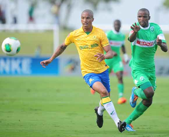 Thabo Ntethe of Mamelodi Sundowns and Ayanda Dlamini of AmaZulu during the Absa Premiership 2013/14 football match between AmaZulu and Mamelodi Sundowns at the Princess Magogo Stadium in Durban , Kwa-Zulu Natal on the 6th of March 2014  ©Sabelo Mngoma/Bac