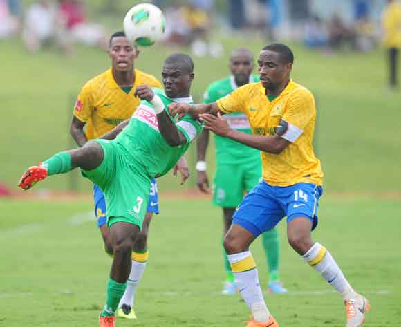 Goodman Dlamini ofAmaZulu and Surprise Moriri of Mamelodi Sundowns during the Absa Premiership 2013/14 football match between AmaZulu and Mamelodi Sundowns at the Princess Magogo Stadium in Durban , Kwa-Zulu Natal on the 6th of March 2014  ©Sabelo Mngoma/
