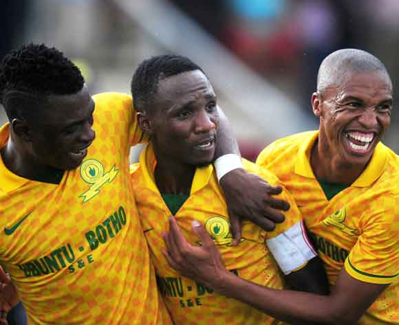 (L-R) Rasid Sumaila , Teko Modise and Thabo Ntethe of Mamelodi Sundowns celebrating their goal during the Absa Premiership 2013/14 football match between AmaZulu and Mamelodi Sundowns at the Princess Magogo Stadium in Durban , Kwa-Zulu Natal on the 6th of