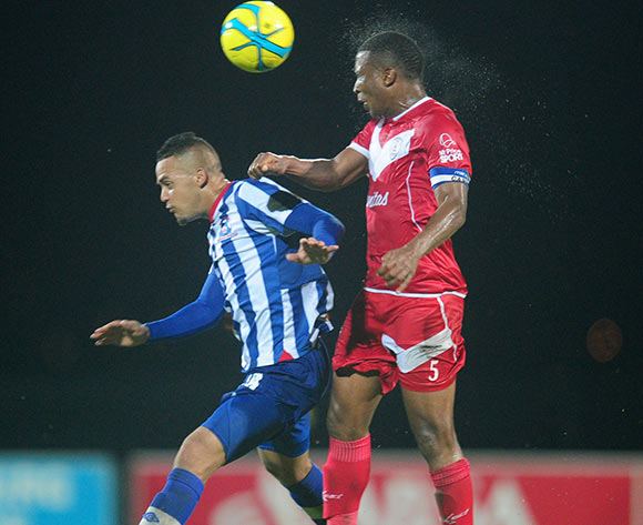 Paulus Masehe of Free State Stars battles Ryan De Jongh of Maritzburg United during the Absa Premiership 2013/14 football match between Maritzburg United v Free State Stars at the Harry Gwala Stadium in Pietermaritzburg , Kwa-Zulu Natal on the 11th of Mar
