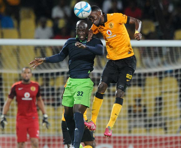 Siphelele Mthembu of Platinum Stars battles with Tefu Mashamaite of Kaizer Chiefs  during the Absa Premiership 2013/14 match between Platinum Stars and Kaizer Chiefs at Royal Bafokeng Stadium in Rustenburg on the 12 March 2014
