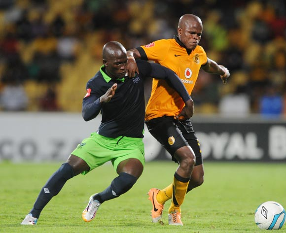 Willard Katsande of Kaizer Chiefs battles with Siphelele Mthembu of Platinum Stars during the Absa Premiership 2013/14 match between Platinum Stars and Kaizer Chiefs at Royal Bafokeng Stadium in Rustenburg on the 12 March 2014