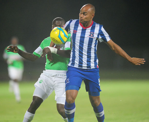 Robyn Johannes of Maritzburg United battles Goodman Dlamini ofAmaZulu during the Absa Premiership 2013/14 football match between Maritzburg United and AmaZulu at the Harry Gwala Stadium in Durban, Kwa-Zulu Natal on the 14th of March 2014