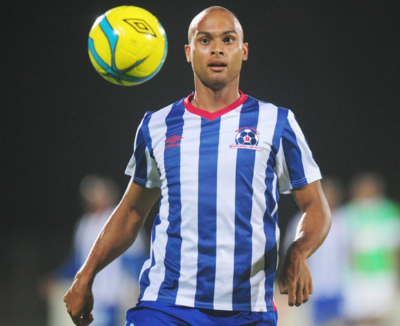 Robyn Johannes of Maritzburg United during the Absa Premiership 2013/14 football match between Maritzburg United and AmaZulu at the Harry Gwala Stadium in Durban, Kwa-Zulu Natal on the 14th of March 2014