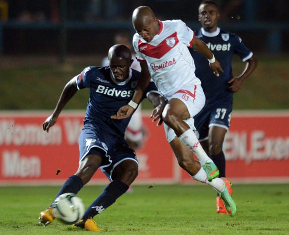 Richard Henyekane of Free State Stars battles with Kwanda Mngonyama of Bidvest Wits during the Absa Premiership match between Bidvest Wits and Free State Stars on the 15 March 2014 at Bidvest Stadium