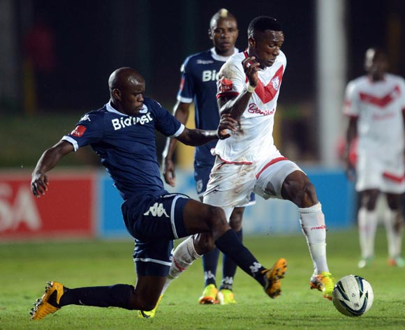 Mthokozisi Yende of Free State Stars battles with Kwanda Mngonyama of Bidvest Wits during the Absa Premiership match between Bidvest Wits and Free State Stars on the 15 March 2014 at Bidvest Stadium