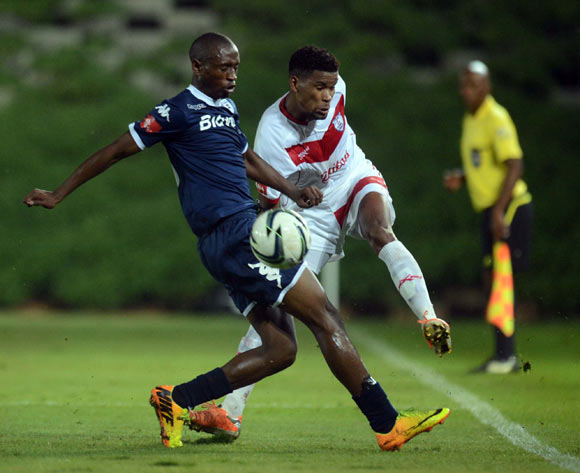Bokang Tlhone of Free State Stars battles with Siyabonga Nhlapho of Bidvest Wits during the Absa Premiership match between Bidvest Wits and Free State Stars on the 15 March 2014 at Bidvest Stadium