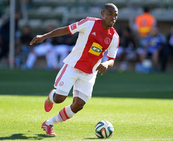Thulani Hlatshwayo of Ajax Cape Town during the Absa Premiership 2013/14 football match between Ajax Cape Town and University of Pretoria at Athlone Stadium, Cape Town on 16 March 2014