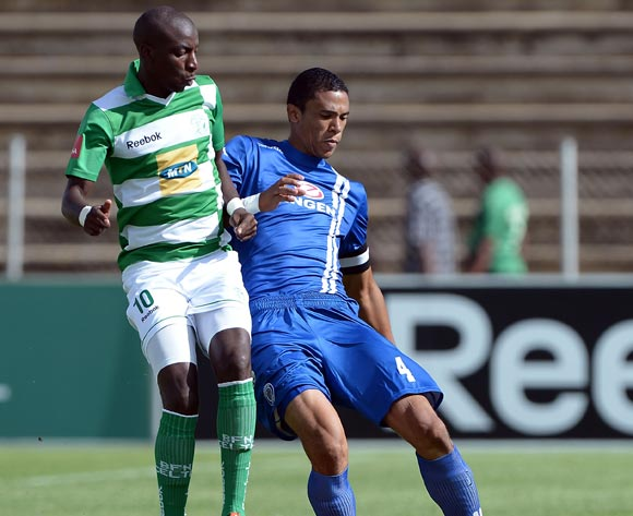Bevan Fransman of Supersport United FC and Musa Nyatama of Bloemfontein Celtic FC during the Absa Premiership match between Bloemfontein Celtic FC and Supersport United FC at the Kaizer Sebothelo Stadium on 16 March 2014