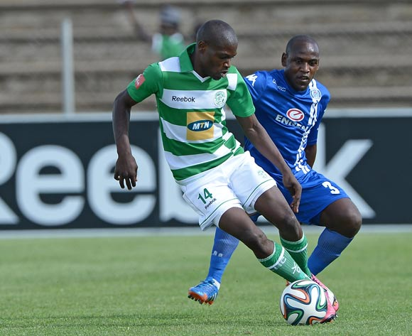 Lerato Lamola from Bloemfontein Celtic FC and Sibusiso Khumalo of Supersport United FC during the Absa Premiership match between Bloemfontein Celtic FC and Supersport United FC at the Kaizer Sebothelo Stadium on 16 March 2014