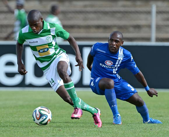 Lerato Lamola from Bloemfontein Celtic FC and Sibusiso Khumalo from Supersport United FC during the Absa Premiership match between Bloemfontein Celtic FC and Supersport United FC at the Kaizer Sebothelo Stadium on 16 March 2014
