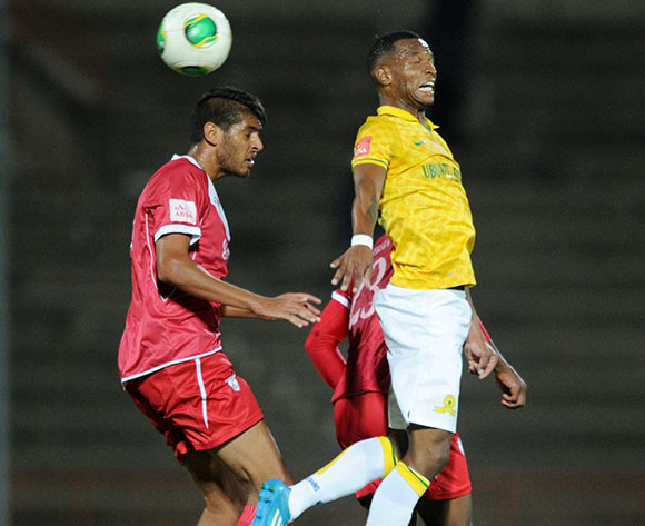 Mzikayise Mashaba of Mamelodi Sundowns challenged by Muhammed Zaid Patel of Free State Stars during theAbsa Premiership 2013/14 match between Free State Stars and Mamelodi Sundowns at Charles Mopeli Stadium in Qwa Qwa on the 18 March 2014