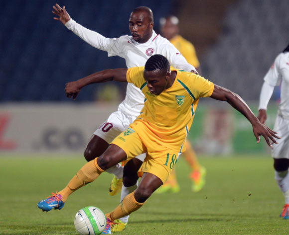 Siyanda Zwane of Golden Arrows tussles for possession with Siyabonga Nomvethe of Moroka Swallows during the Absa Premiership match between Moroka Swallows and Golden Arrows Stars on the 18 March 2014 at Dobsonville Stadium
