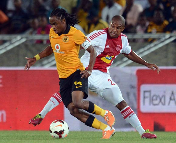 Siphiwe Tshabalala of Kaizer Chiefs battles with Aiden Jenniker of Ajax Cape Townduring the Absa Premiership match between Kaizer Chiefs and Ajax Cape Town on the 19 March 2014 at Peter Mokaba Stadium