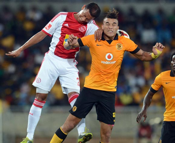 Matthew Rusike of Kaizer Chiefs battles with Nazier Allie of Ajax Cape Townduring the Absa Premiership match between Kaizer Chiefs and Ajax Cape Town on the 19 March 2014 at Peter Mokaba Stadium