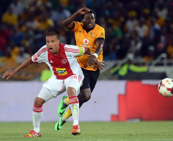 Kingston Nkhatha of Kaizer Chiefs battles with Dominic Isaacs of Ajax Cape Townduring the Absa Premiership match between Kaizer Chiefs and Ajax Cape Town on the 19 March 2014 at Peter Mokaba Stadium