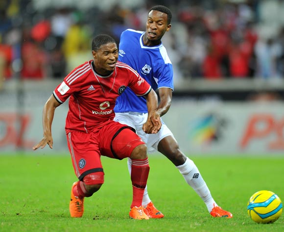 Thandani Ntshumayelo of Orlando Pirates challenged by Themba Zwane of Black Aces during the Absa Premiership football match between Black Aces and Orlando Pirates at the Mbombela Stadium, Nelspruit on 18 March 2014