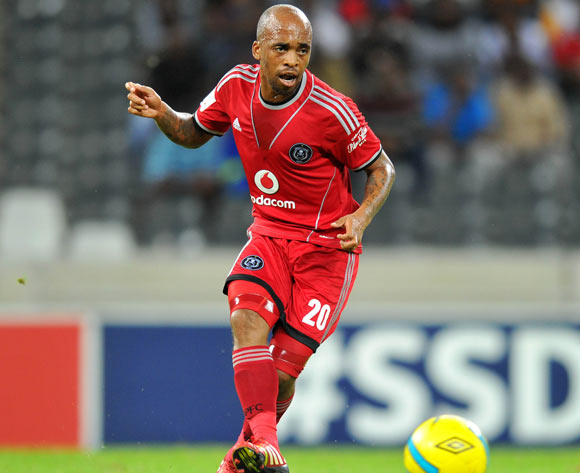 Oupa Manyisa of Orlando Pirates during the Absa Premiership football match between Black Aces and Orlando Pirates at the Mbombela Stadium, Nelspruit on 18 March 2014