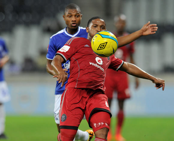 Thandani Ntshumayelo of Orlando Pirates challenged by Thabo Qalinge of Black Aces during the Absa Premiership football match between Black Aces and Orlando Pirates at the Mbombela Stadium, Nelspruit on 18 March 2014