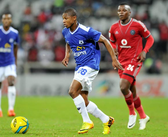 Thabo Qalinge of Black Aces challenged by Khethowakhe Masuku of Orlando Pirates during the Absa Premiership football match between Black Aces and Orlando Pirates at the Mbombela Stadium, Nelspruit on 18 March 2014