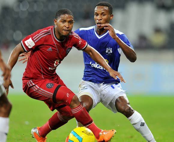 Themba Zwane of Black Aces challenged by Thandani Ntshumayelo of Orlando Pirates during the Absa Premiership football match between Black Aces and Orlando Pirates at the Mbombela Stadium, Nelspruit on 18 March 2014