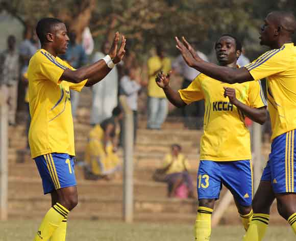 Brian Majwega of KCCA FC being congratulated after scoring against CRO FC during the 2014 Fufa Super League at the Lugogo Stadium, Kampala on 18 February 2014 ©Ismail Kezaala/BackpagePix