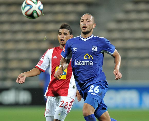 Miguel Timm of Black Aces and Keagon Dolly of Ajax Cape Town during the Ajax Cape Town and Black Aces match at Athlone Stadium, Cape Town on 28 March 2014