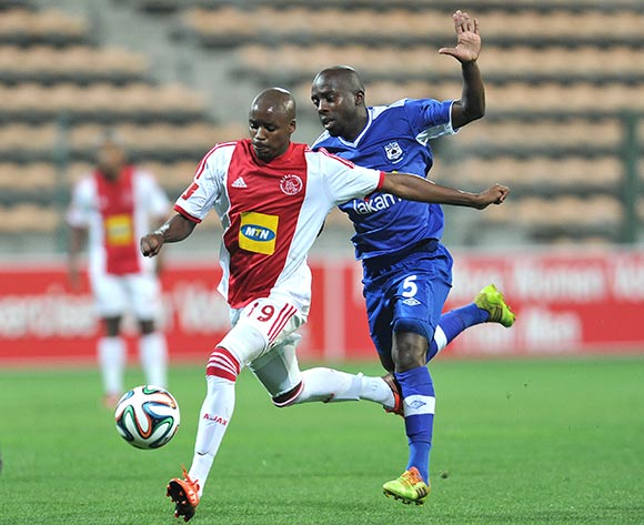 Themba Zwane of Black Aces and Tasriq Morris of Ajax Cape Town during the Ajax Cape Town and Black Aces match at Athlone Stadium, Cape Town on 28 March