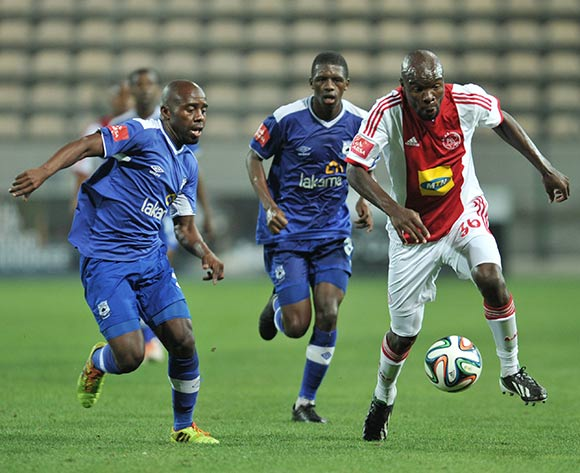 Sandile Zuke of Black Aces and Simbarashe Sithole of Ajax Cape Town during the Ajax Cape Town and Black Aces match at Athlone Stadium, Cape Town on 28 March 2014