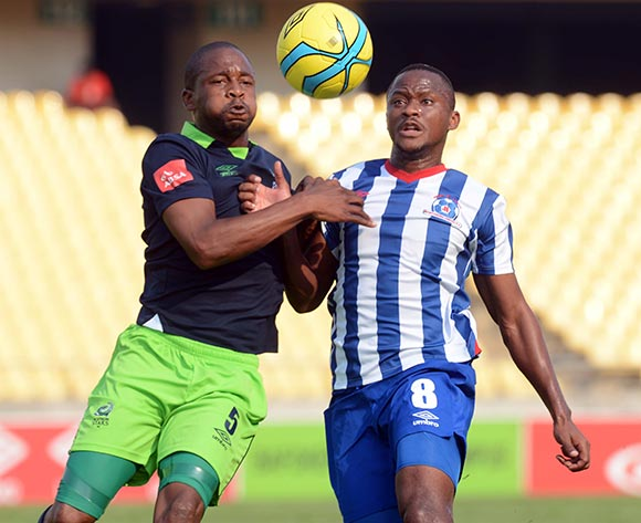 Gift Sithole of Platinum Stars battles with Thokozani Sekotlong of Maritzburg United during the Absa Premiership match between Platinum Stars and Maritzburg United  on the 29 Royal Bafokeng Stadium