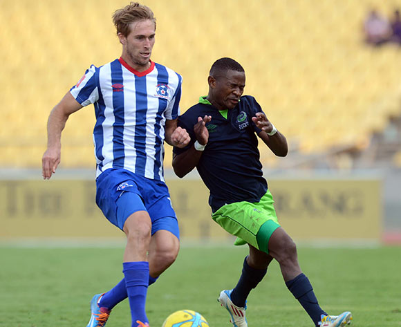 Sibusiso Hadebe of Platinum Stars battles with Rheece Evans of Maritzburg United during the Absa Premiership match between Platinum Stars and Maritzburg United  on the 29 Royal Bafokeng Stadium