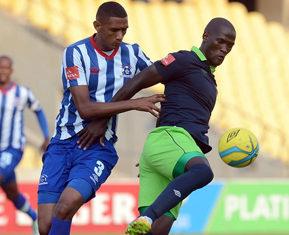 Siphelele Mthembu of Platinum Stars battles with Mario Booysen of Maritzburg United during the Absa Premiership match between Platinum Stars and Maritzburg United  on the 29 Royal Bafokeng Stadium