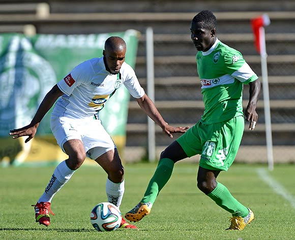 Wandisile Letlabike of Bloemfontein Celtic FC. and John Arwuah of Amazulu FC during the Absa Premiership match between Bloemfontein Celtic FC and Amazulu FC at the Kaizer Sebothelo Stadium on 30 March 2014