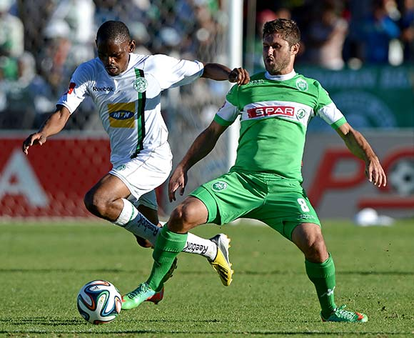 Marc van Heerden from Amazulu FC and Mogogi Gabonamong of Bloemfontein Celtic during the Absa Premiership match between Bloemfontein Celtic FC and Amazulu FC at the Kaizer Sebothelo Stadium on 30 March 2014