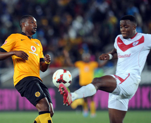 Katlego Mphela of Kaizer Chiefs battles with Themba Shabalala of Free State Stars during the Absa Premiership match between Kaizer Chiefs and Free State Stars   on the 30 of April 2014 at Peter Mokaba Stadium