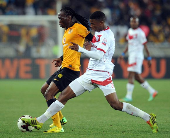 Reneilwe Letsholonyane of Kaizer Chiefs battles with Sibusiso Mthethwa of Free State Stars during the Absa Premiership match between Kaizer Chiefs and Free State Stars   on the 30 of April 2014 at Peter Mokaba Stadium