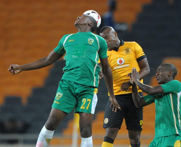 Bongi Ntuli of Golden Arrows battles with Tsepo Masilela of Kaizer Chiefs  during the Absa Premiership 2013/14 match between Kaizer Chiefs and Golden Arrows at FNB Stadium in Johannesburg on the 02 April 2014
