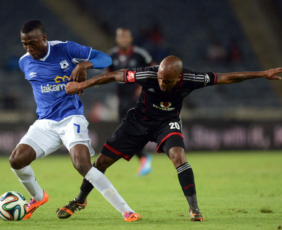 Oupa Manyisa of Orlando Pirates battles with Tendai Ndoro of Black Aces during the Absa Premiership match between Orlando Pirates and MP Black Aces  on the 02 of April 2014 at Orlando Stadium
