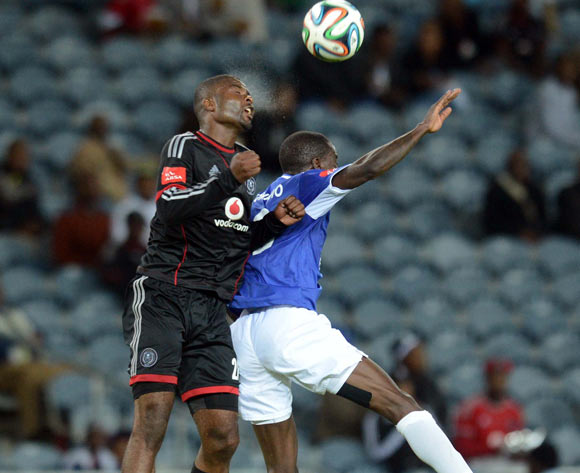 Rooi Mahamutsa of Orlando Pirates battles with Onyekachi Okonkwo of Black Aces during the Absa Premiership match between Orlando Pirates and MP Black Aces  on the 02 of April 2014 at Orlando Stadium