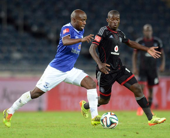 Sifiso Myeni of Orlando Pirates battles with Sandile Zuke of Black Aces during the Absa Premiership match between Orlando Pirates and MP Black Aces  on the 02 of April 2014 at Orlando Stadium