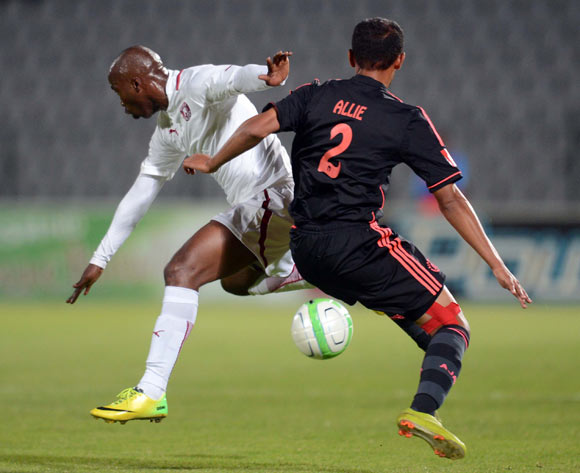 Siyabonga Nomvethe of Moroka Swallows battles with Nazeer Allie of Ajax Cape Town during the Absa Premiership match between Moroka Swallows and Ajax Cape Town on the 04 of April 2014 at Dobsonville Stadium