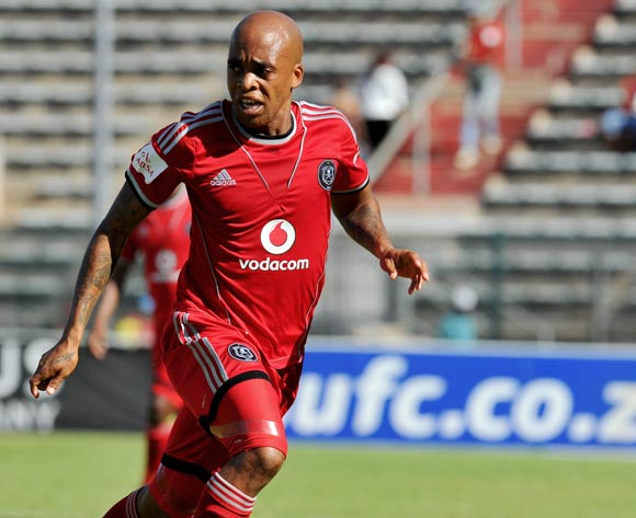 Oupa Manyisa of Orlando Pirates during the Absa Premiership football match between Supersport United and Orlando Pirates at the Lucas Moripe Stadium, Pretoria on o5 April 2014